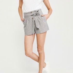 High rise tie front shorts